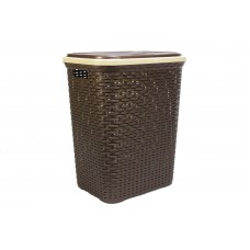 Plastic Laundry Basket with Lid | Washing Basket Brown (Coffee)