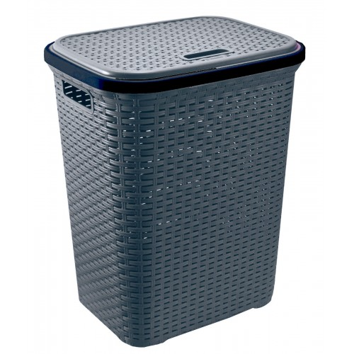Plastic Laundry Basket with Lid | Modern Heavy duty 55 Litre Washing Basket