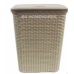 Laundry Hamper with Lid | Wicker Laundry Basket | Beige Rattan Style 55l Washing Basket