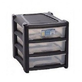 3 Drawer Plastic Storage Unit | Stackable Storage Containers with Drawers