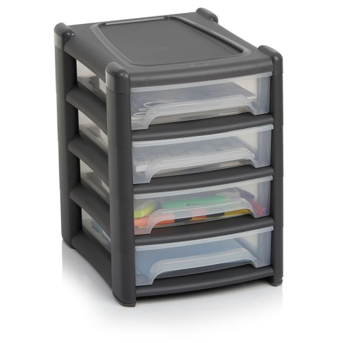 4 Drawer Plastic Tower Storage Unit | Heavy Duty Plastic Storage containers