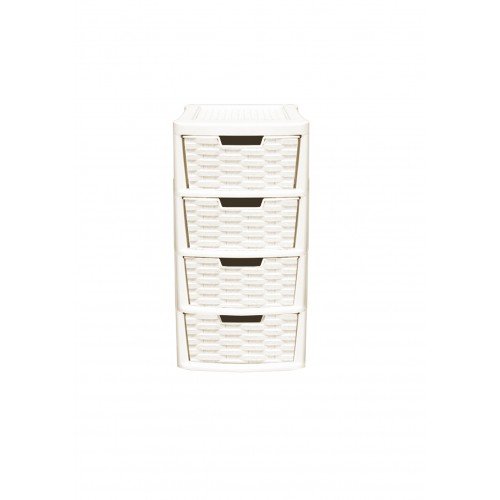 4 Drawer Plastic Tower Storage Unit | Stackable Storage Containers with Drawers | Rattan Style