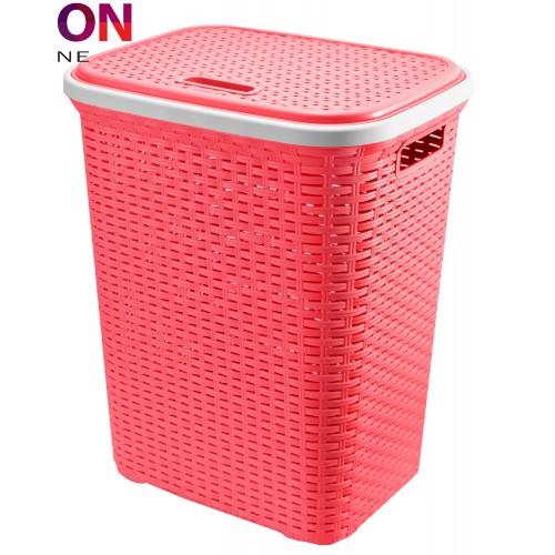 Plastic Laundry Basket with Lid | Wicker Laundry Basket (Pinkish Red)