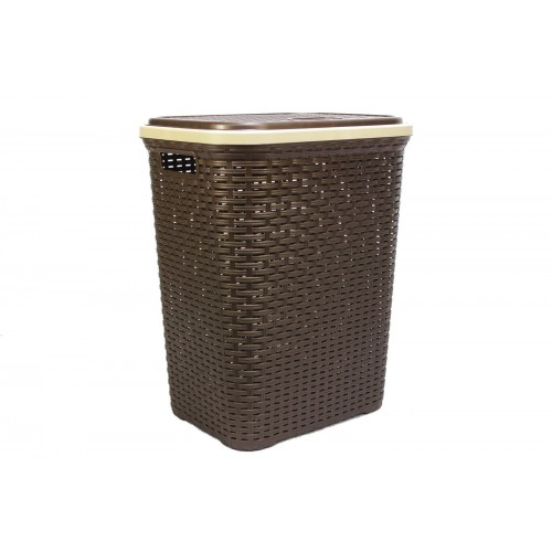 Plastic Laundry Basket With Lid Modern Washing Brown