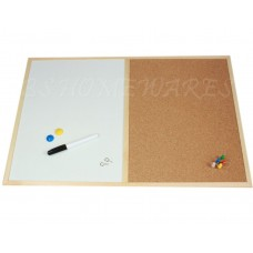 Cork Memo White Magnetic Pin Board