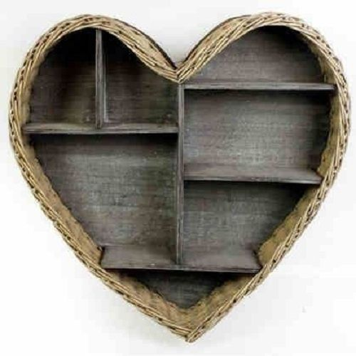 Wooden Heart Shaped Shelves | Heart Shaped Shelving Unit | Wicker