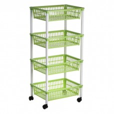 4 Tier Plastic Fruit Vegetable Kitchen Storage Trolley Rack