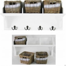 White Wicker Storage Unit With 3 Baskets And Coat Hook Hangers Wall Mounted