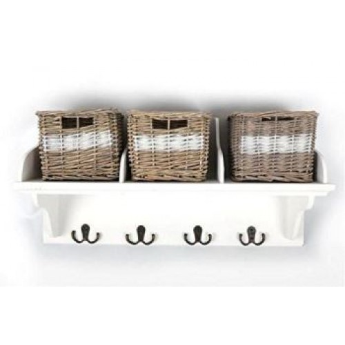 white wicker storage unit with 3 baskets and coat hook