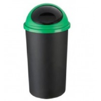 25 Litre | Plastic Bullet Bin Black with Green Lid