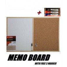 Cork Pin and Magnetic White Board Memo Notice Kitchen Office With 3 Markers
