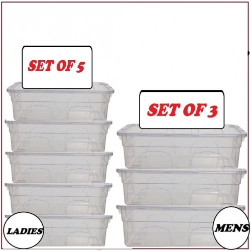 CLEAR PLASTIC LADIES MENS SHOE BOX STORAGE STACKING STACKABLE UNIT DRAWER