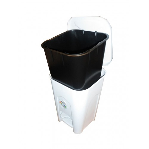 White Bathroom Bin with lid  | Pedal bin Plastic | 16 Liter | Ice White