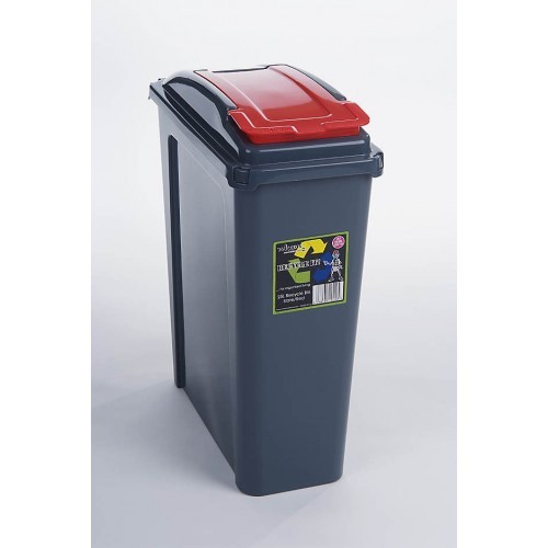 25 liter Plastic Containers | Red Grey Recycle Bin