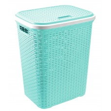 Hamper Baskets Cheap | Plastic Laundry Basket with Lid (Sea Blue) Washing Basket
