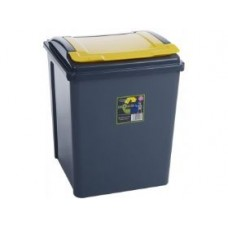 Plastic 50 Liter Recycle Bin Yellow Grey