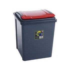 50 litre Recycling Bin | Kitchen Bin 50l | Red Lid