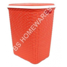 New Laundry Hamper Basket Rattan Style Clothes Washing Storage Bins Pinkish Red