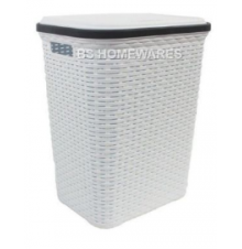 White Rattan Laundry Basket with lid | Plastic laundry basket with lid